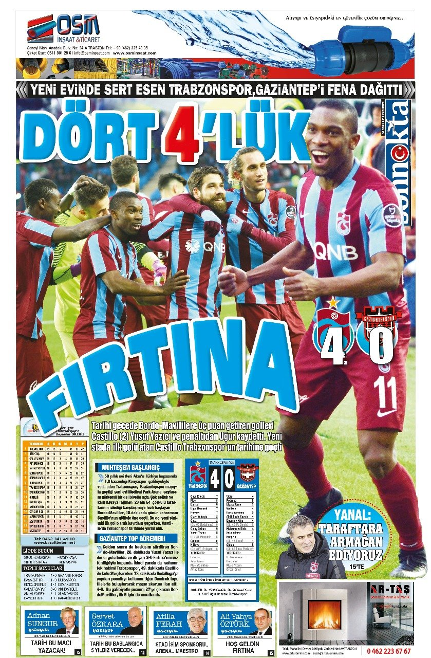 Trabzon yerel basını manşetleri (30 Ocak 2017)
