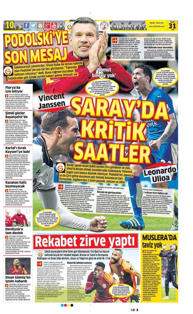 Gazete manşetleri - Gazete Oku (31 Ocak 2017)