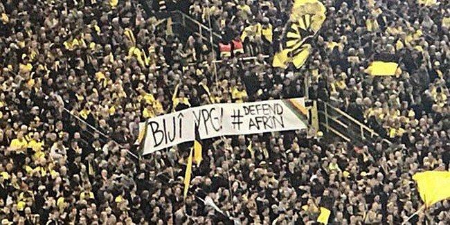 Dortmund taraftarından skandal Afrin pankartı!