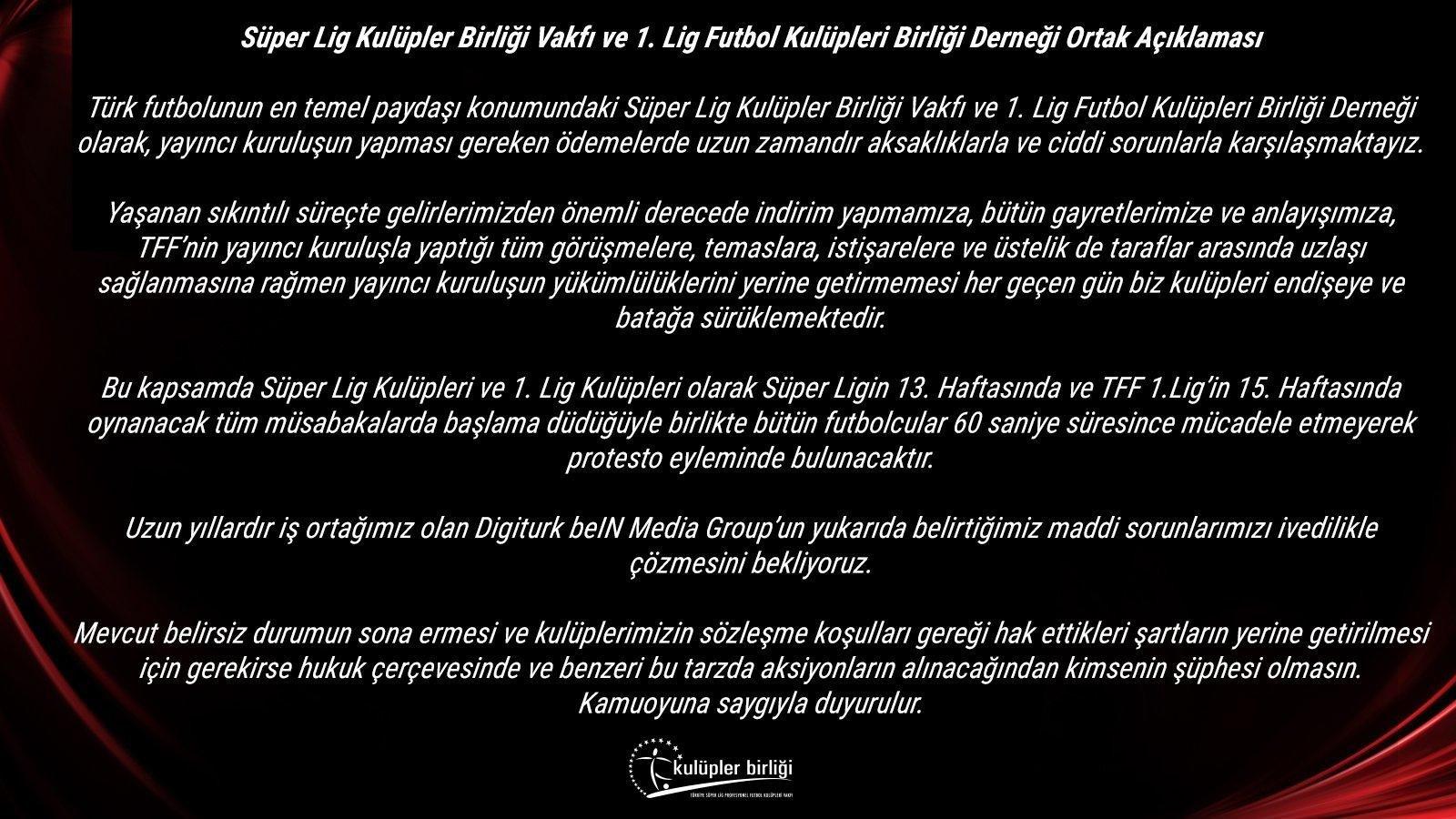<h2>KULÜPLER BİRLİĞİ'NDEN AÇIKLAMA</h2>