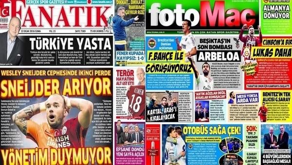 Spor gazetelerinde günün manşetleri (22 Ocak 2016)