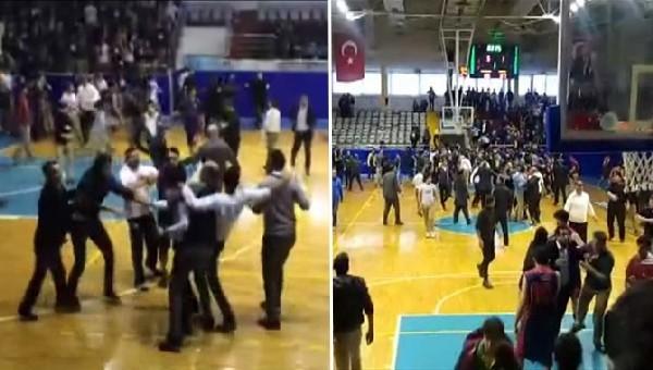 Basketbol maçı savaşa dönüştü