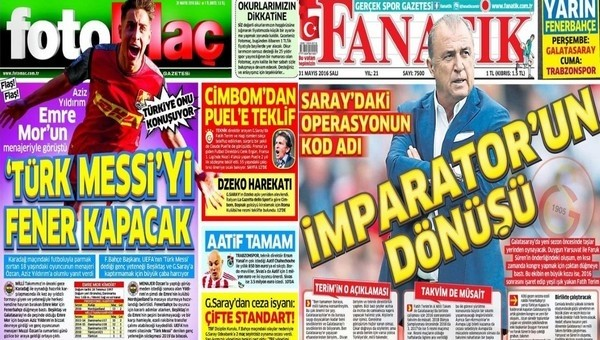 Spor gazeteleri oku - Spor gazete manşetleri - Gazete Oku (Fanatik, Fotomaç, AMK gazeteleri - 31 Mayıs 2016)