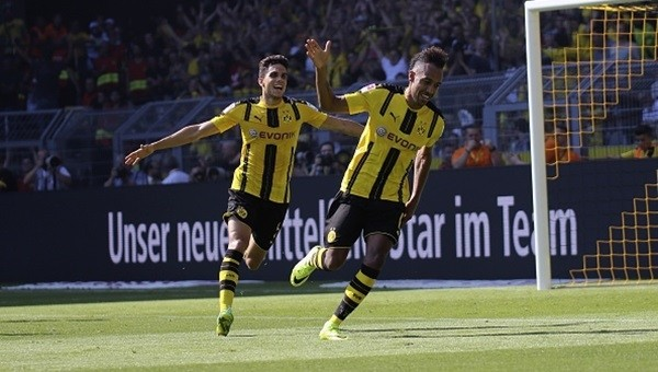 Dortmund Aubameyang'la güldü
