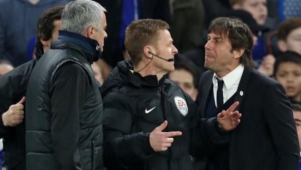 Chelsea - Manchester United maçında Mourinho ile Conte kapıştı