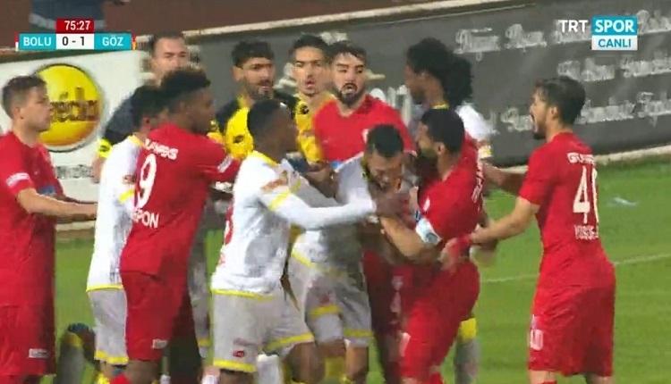 Boluspor'da, Göztepe maçında Andre Santos rakibine saldırmaya çalıştı! Kırmızı kart...