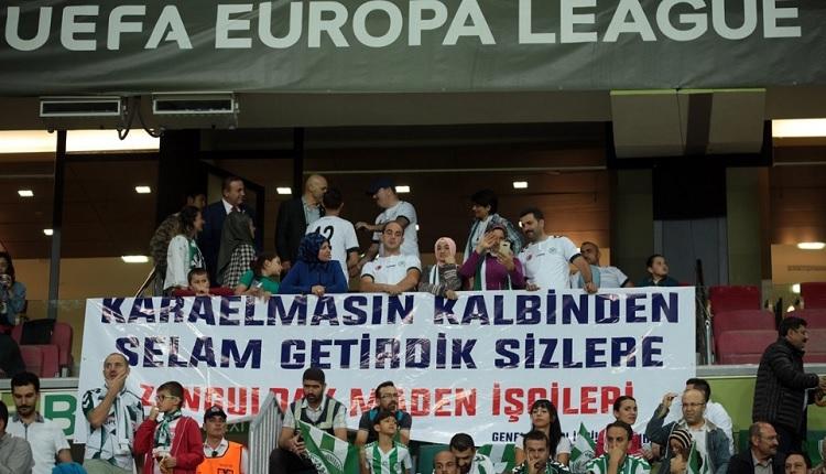 Konyaspor'a Guimaraes maçında Zonguldaklı maden işçilerinden destek
