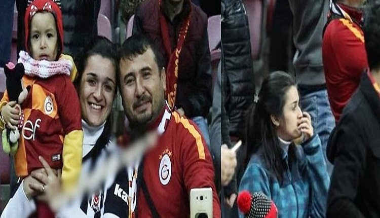 Galatasaray - Akhisar maçında Beşiktaşlı kadının formasını çıkardılar