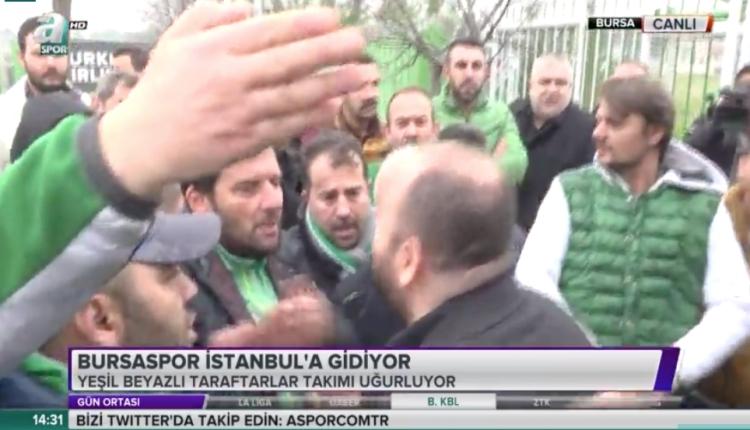 Bursaspor taraftarı takım otobüsünün önünü kesti