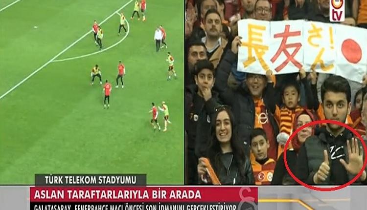 GS TV'de 6 işareti yapan taraftar! (Galatasaray'ın TT Stadındaki antrenmanı)