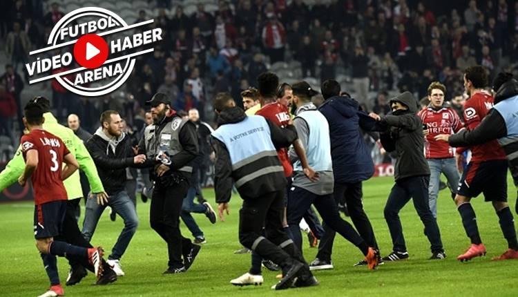 Lille - Montpellier maçında taraftar sahaya girdi! (İZLE)