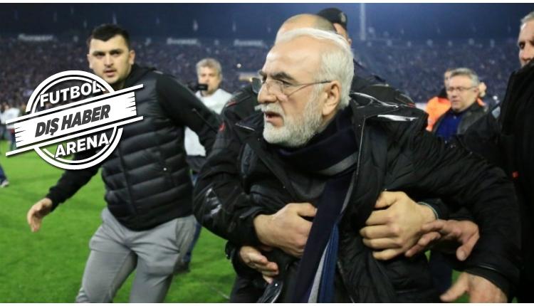 PAOK - AEK maçında çıkan olaylar! PAOK başkanı silahla sahaya daldı!