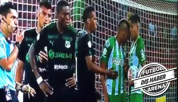 Kolombiya'da olay! Takım arkadaşına kafa attı kırmızı gördü