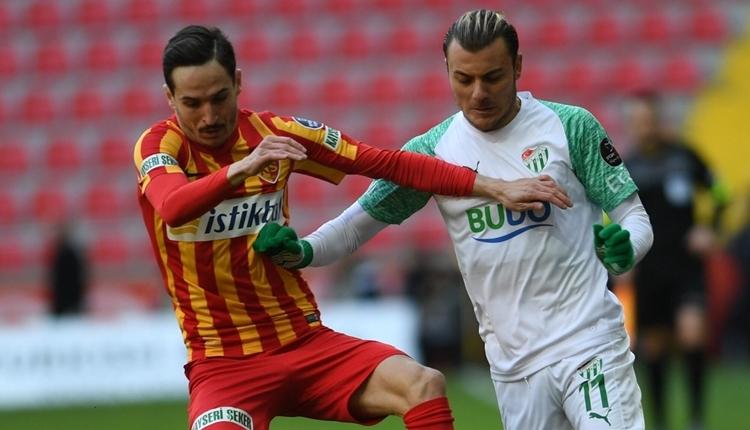 Kayserispor 1-1 Bursaspor maç özeti ve golleri izle