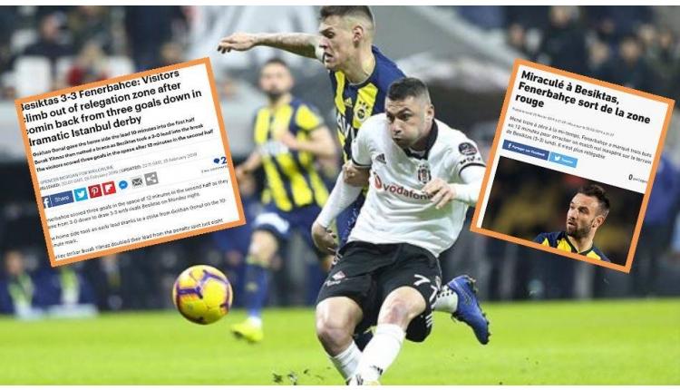 Beşiktaş 3-3 Fenerbahçe derbisi Avrupa'da manşetlerde