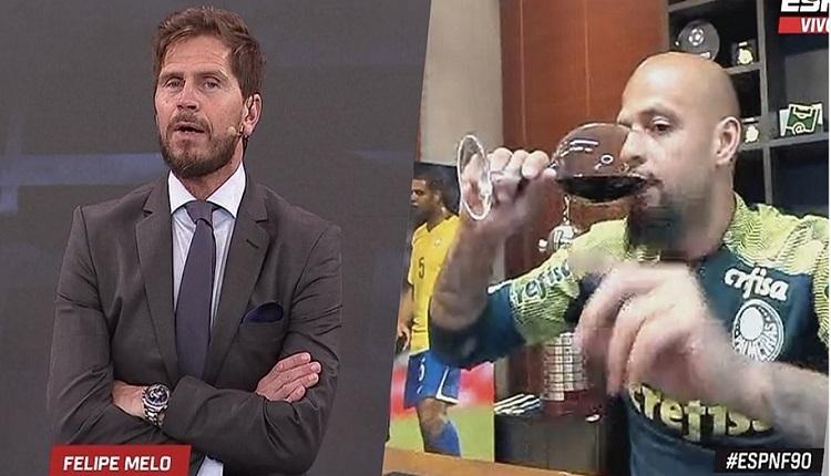 Felipe Melo canlı yayında şarap içti