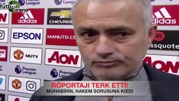 Jose Mourinho muhabire kızdı ve gitti