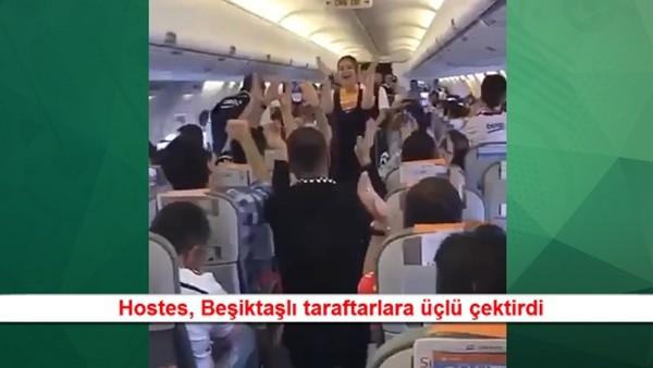 Hostes, Beşiktaşlı taraftarlara üçlü çektirdi