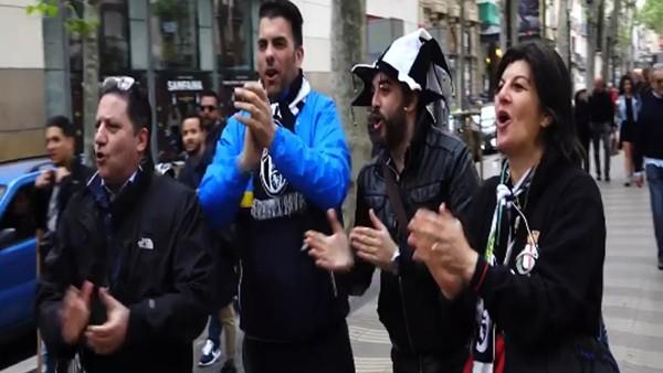 Juventuslu taraftarlar Barcelona sokaklarını fethetti