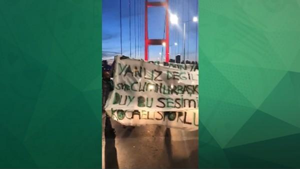 Kocaelispor taraftarları köprüyü kesti