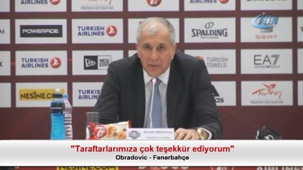 """Obradovic: """"Taraftarlarımıza çok teşekkür ediyorum"""""""