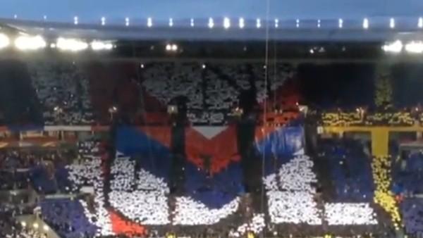 Lyon taraftarından Ajax maçında tribün şov!