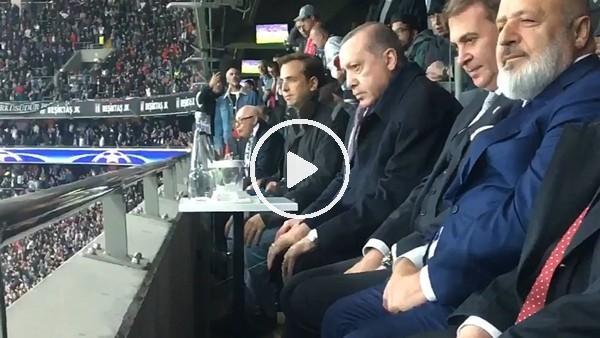 Cumhurbaşkanı Erdoğan, Beşiktaş Monaco maçını tribünden izledi