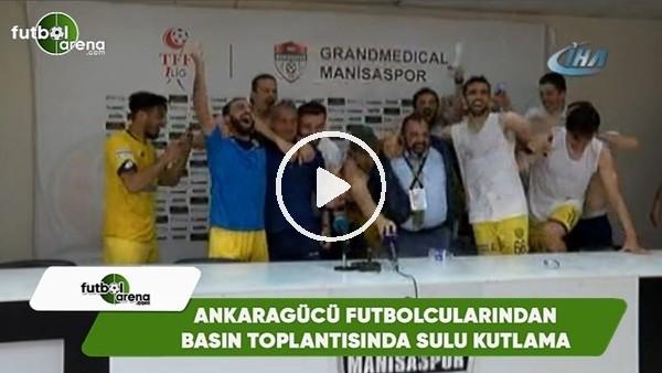 'Ankaragücü futbolcularından basın toplantısında sulu kutlama