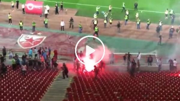 Kızılyıldız - Partizan maçında tribünlerde arbede çıktı!