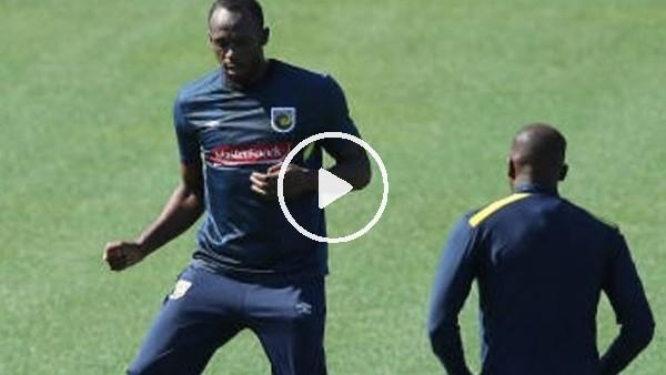 'Usain Bolt antrenmanda yeteneklerini konuşturdu!
