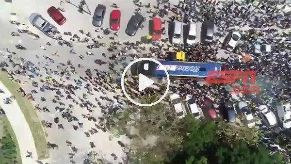 Boca Juniors otobüsüne yapılan saldırının havadan görüntüleri
