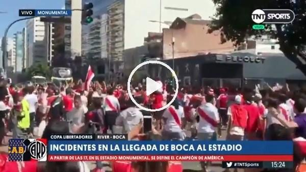 River Plate taraftarı, Boca Juniors otobüsüne saldırdı