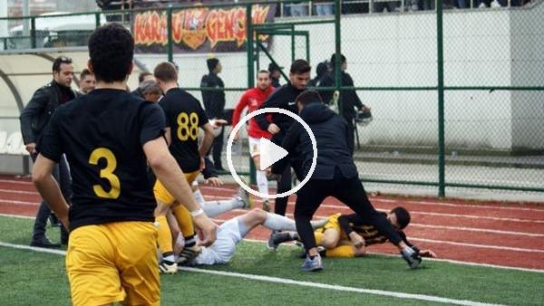 Amatör maçta kavga çıktı, 8 futbolcu kırmızı kart gördü