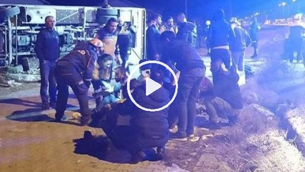 Ankaragücü taraftarlarını taşıyan otobüs kaza yaptı