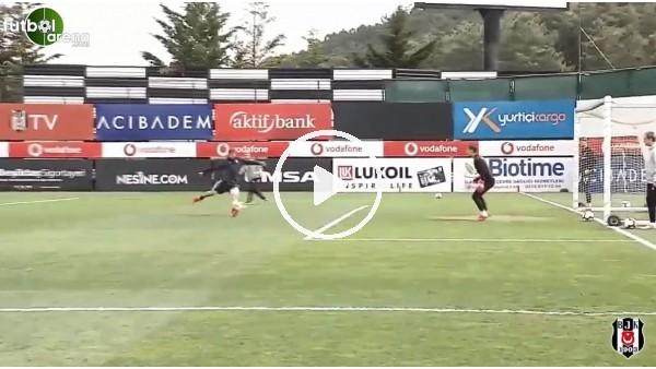Beşiktaşlı futbolculardan antrenmanda şık goller