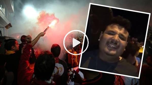 'Galatasaray şampiyonluk kutlamalarında Beşiktaş marşı söyleyen taraftar..