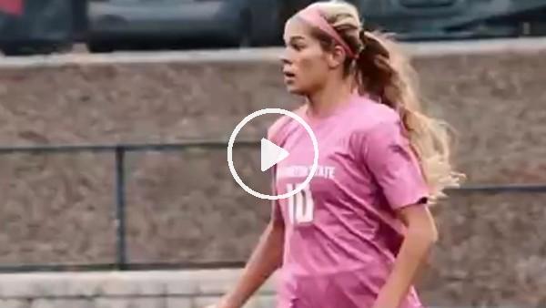'Kadın futbolcu rakibinin aklını aldı...